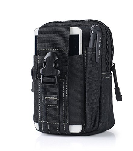MAETEK Outdoor Tactical Holster Military Molle EDC Hip Waist Belt Bag 5.5/6 inch Nylon Zipper Pouch Purse Phone Case for iPhone 7 6S Plus Galaxy S7 S6 Edge LG HTC Moto Zenfone and More-Army Black