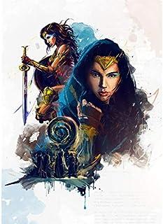 Fymm丶shop Wonder Woman Ink Style HD Poster Pintura De Lienzo Decoración De Hogar Habitación De Niños Pintura Sin Marco 40X50Cm (N: 4339)