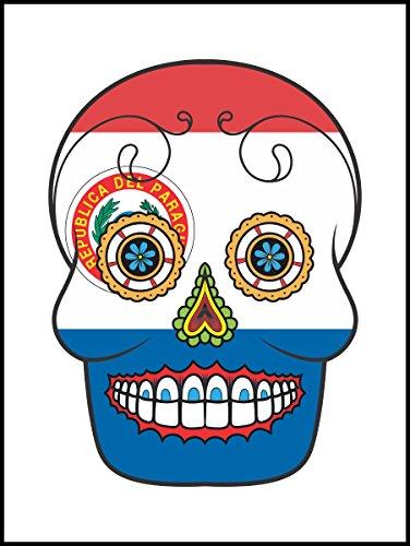 Graz Design–Adhesivo decorativo para baño & cocina–cocina azulejos para blanca individuales fließen recomienda–Azúcar cráneo diseño Países–Paraguay, Blanco
