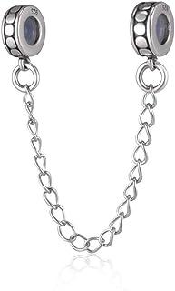 Cadena de seguridad 925 con tapón espaciadores bloqueo encanto de plata de ley para pulsera de estilo europeo