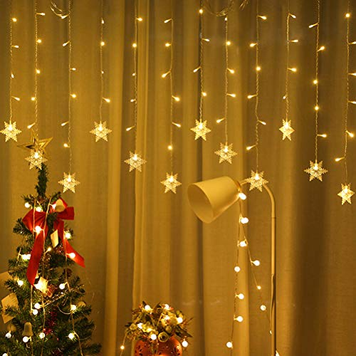 JAOCDOEN Snowflakes Curtain Lights,4 M LED Christmas Snowflakes Fairy Lights for Home Church Wedding Birthday Decorations