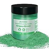 JEMESI 50g pigmentos en polvo de Mica para teñir resina epoxi transparente,colorante jabon, bombas de baño, hacer slime, Maquillaje - Verde Hierba