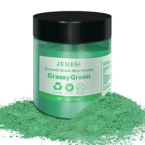JEMESI Epoxidharz Farbe, 50g Mica Pulver Pigmente Epoxidharz für Kunstharz Gießharz Kerze Kosmetischer Lidschatten Nagellack (Grasgrün)