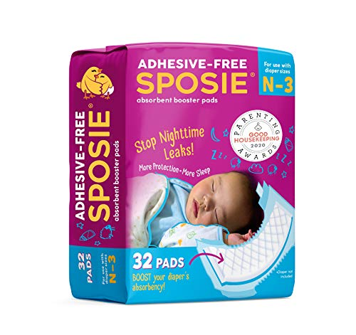 Sposie Overnight Baby Diaper Booster Pads  Doublers for Newborns to Size 3 Diapers  32 Insert-Pads  No Adhesive, Easy Repositioning, Disposable, Nighttime Protection for Infant Boys & Girls