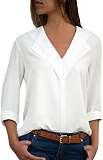 Women Chiffon Blouses -Ladies Lapel V Neck Long Roll Sleeve Shirts Tops Tunics