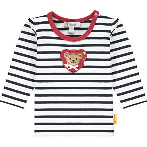 Steiff Baby-Mädchen mit süßer Teddybärapplikation T-Shirt Langarm, Navy, 056