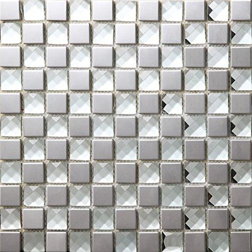 NEW !Lucente mosaico del diamante quadrato Vetro e acciaio inox mosaico mattonelle arte della parete 300*300mm--Cucina Backsplash/Parete da bagno/decorazione domestica(SB015)