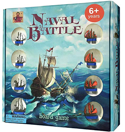 Naval Battle - New Battleship Board Game for Kids 6 and up - Exciting 2 Player Family Friendly Battle Ship Board Games - Tactic, Strategy, Problem Solving, Action for Boys and Girls