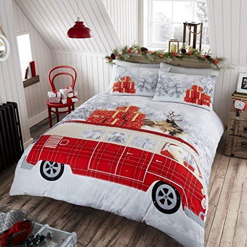 GAX Christmas Duvet Cover Set - Xmas | Snowman | Christmas Pals | Unicorn | Retro | Santa Claus Poly Cotton Winter Festive Quilt Bedding Set With Pillowcase (Santa's Campervan, Double Bed Size)