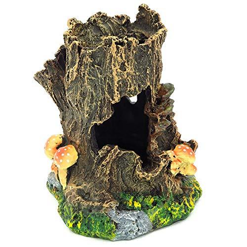 YAOHEHUA Guaridas Piedras hábitats Reptiles y Anfibios Fuente de Bonsai artesanías de Resina Cabeza de árbol Artificial Suministros de decoración de peceras 14 * 13 * 15 cm