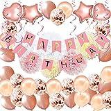 YINVA Geburtstagsdeko Roségold, Geburtstag Dekoration, Happy Birthday Girlande, Geburtstag Party Dekorationen Set für Mädchen und Frauen,EinschließlichALLES Gute ZUM Geburtstag Banne