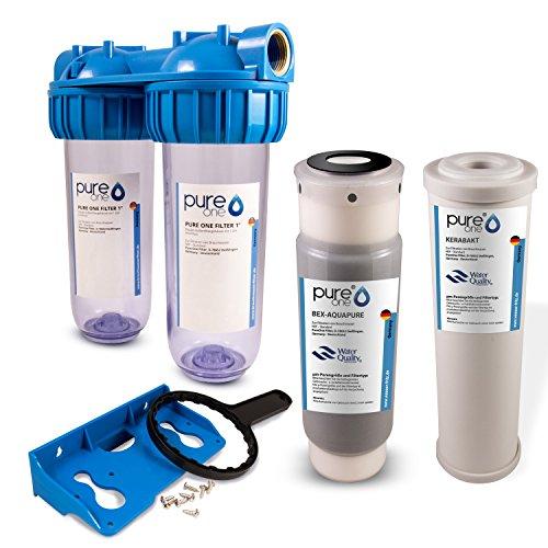PureOne BAS2 BioActive-Set. 2-Stufige Filteranlage 10 Zoll. Schadstoffe, Geschmack, Keime und Sporen. Filtergehäuse mit Aktivkohle- und Keimfilter (Keramik). Für Hauswasserwerk, Zisterne 1/2 Zoll
