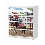 Set Möbelaufkleber für Ikea Kommode MALM 4 Fächer/Schubladen Sport Tier Rodeo Reiten Pferd Kalb Cowboy Aufkleber Möbelfolie sticker (Ohne Möbel) Folie 25B1527