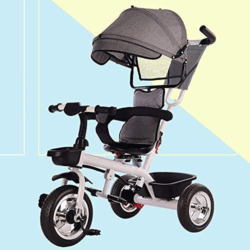 WLD kinderen 'S trainingsvoertuig kinder' S driewieler kinderfiets kinderwagen baby driewieler draaistoel 1-3-6 jaar oud kinderwagen multifunctioneel veiligheidshek 4 kleuren opties grijs