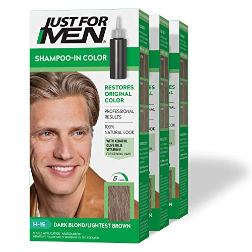 Just For Men Shampoo-In Color (Formerly Original Formula), Gray Hair Coloring for Men - Dark Blond/Lightest Brown, H-15, Pack of 3 (Packaging May Vary)
