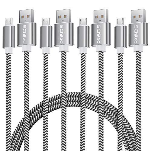 SCHITEC Micro USB Kabel ,4Pack 0.3m 1m 2m 3m Micro USB Schnellladekabel USB 2.0 A Nylon Geflochtenes High Speed Sync und Ladekabel für Android,Samsung Galaxy S6 S7 A7?2018?HTC,LG, Kindle und mehr