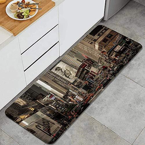 PANILUR Tapis Cuisine Antidérapant Lavable en Machine,Vue sur la Ville de New York Broadway Theatre Street,Tapis de Bain Paillasson Tapis de Sol Cuisine