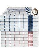 MTEXT Paños de cocina de 100% algodón, 10 unidades, 5 unidades azul y 5 unidades de cuadros rojos, 50 x 70 cm, 65 g (azul y rojo)