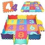 Alfombra Puzzle para Niños Infantil swonuk Números Alfombra Gateo Bebe en Espuma EVA, 25 Piezas (120 * 120 cm)