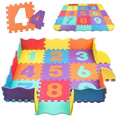 Swonuk 25 pièces Puzzle Tapis Dalle Mousse Bébé Non Toxiques Tapis de Sol épais Tapis de Jeu de clôture Enfant 120 * 120 cm