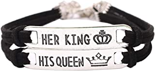 Clearance! Paymenow 2PCS Couple Lover Her King His Queen Bracelets with Crytal Stone Crown Charm Bracelet Chain for Valentine's Day