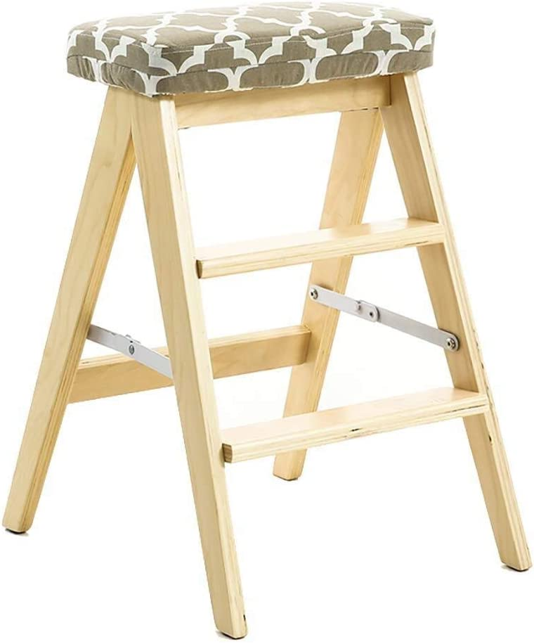 NYDZDM 3-Step cheap Cash special price Wooden Ladder Stoo Foldable-Kitchen Step Household