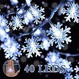 Cadenas de Luces,DIKI Luces LED de Navidad luces de copo de nieve de Navidad con pilas, 5m, 40 luces LED blancas para dormitorio, fiesta, boda, interior, pasillo, jardín, patio, decoración de festival