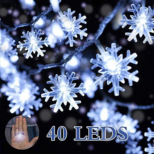 Cadenas de Luces,DIKI Luces LED de Navidad luces de copo de nieve de Navidad con pilas, 5m, 40 luces...