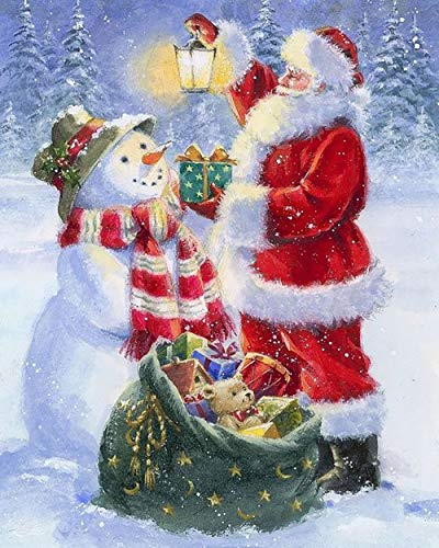 Christmas Diamond Painting Kits for Adults, DIY Round Full Drill Acrylic Embroidery Cross Stitch, Santa Claus and Snowman Art Crafts for Home Wall DecorGift (12×16 Inch)…