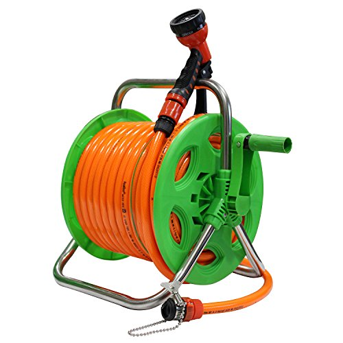 AquaHose Thermoplastic Agriculture Water Pipe Hose Reel 30 m Folding Handle Revolving Type with ISI Marked Hose Pipe (Hose Connector with Tap Adapter, Butterfly Clamp and Bead Chain to Tighten)