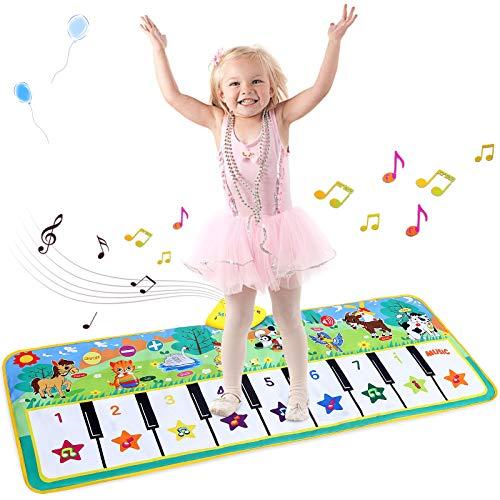 Luchild Piano Mat Tanzmatten Musikmatte Pianomatte Kinder 8 Tierstimmen Klaviertastatur Spielzeug Musik Matte, Keyboard Matten Spielteppich Baby Tanzmatte für Kinder