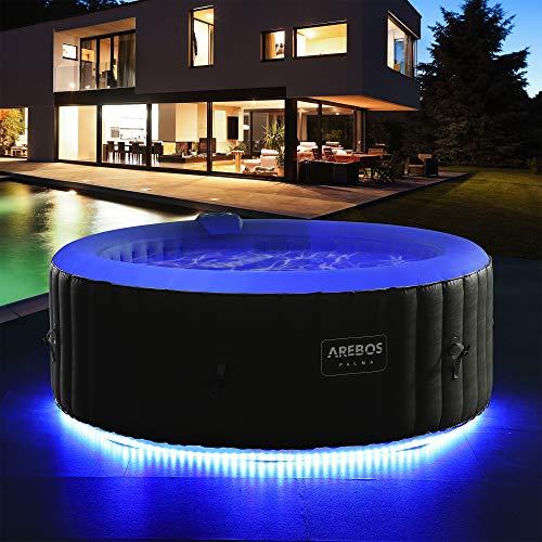 Arebos vasca idromassaggio con striscia luminosa a LED | vasca idromassaggio gonfiabile | per 4 persone | 130 ugelli | piscina gonfiabile
