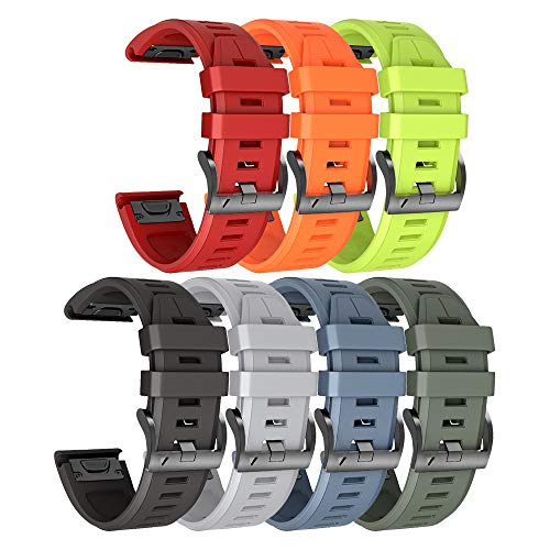ANCOOL Compatible Fenix 5X Plus Band 26mm Easy Fit Silicone Smartwatch Bands Replacement for Fenix 6X/Fenix 6X Pro/Fenix 5X/Fenix 5X Plus/Fenix 3/Fenix 3 HR (Pack of 7)