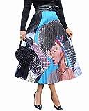 ThusFar Women's Graffiti Pleated Skirts Cartoon Printed Elastic Waist A-Line Swing Midi Skirt Lady XXL