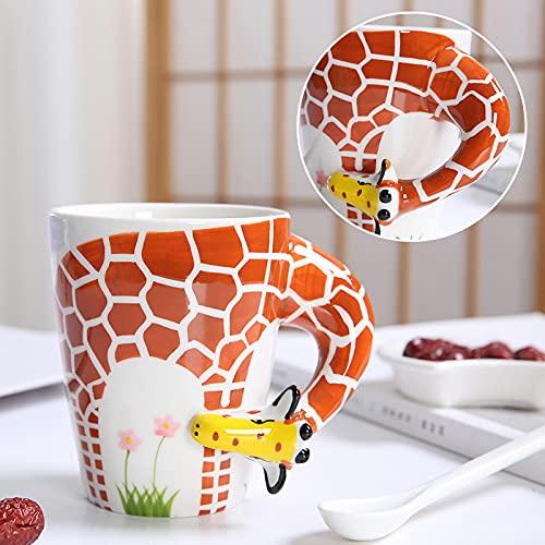 Tazas de té de café Leche de desayuno Tazas de avena Taza de agua de dibujos animados de cerámica Taza 450ml Jirafa