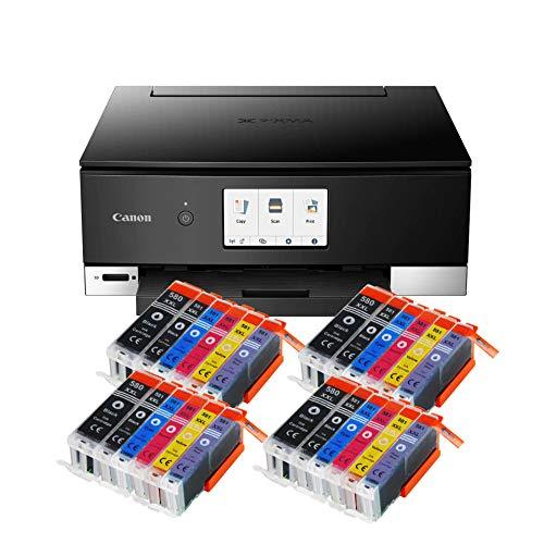 Canon Pixma TS8350 TS-8350 All-in-One Farbtintenstrahl-Multifunktionsgerät (Drucker, Scanner, Kopierer, CD-Druck, USB, WLAN, LAN, Apple AirPrint, SD-Karte) Schwarz + 24er Set IC-Office 580XXL 581XXL