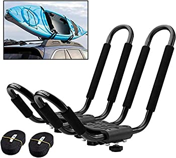 PaddleSports+ Kayak Roof Rack Set for Cars and SUVs - One Set with Straps - Universal Fit Carrier Mounts on Crossbars for Easy Travel with Kayaks Canoes Paddleboards and Surfboards