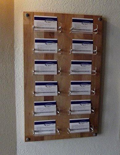 Visitenkarten Wandhalter aus Acrylglas und Holz BUCHE 12 Fächer