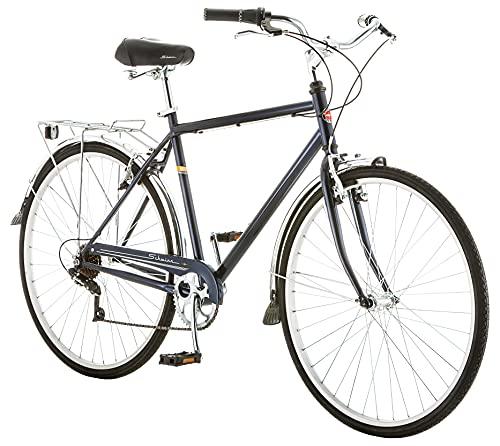 Schwinn Wayfarer Adult Bike Hybrid Retro-Styled Cruiser, 18-Inch/Medium Steel Step-Over Frame, 7-Speed Drivetrain, Rear Rack, 700C Wheels, Dark Grey