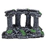 Lrxinki Adornos para acuario, prácticos simulación, columna romana, decoración de acuario, ruinas de piedra, plantas, decoración de acuario, ornamentos, respetuoso con el medio ambiente (b)