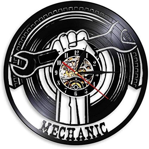 mbbvv Llave Reloj de Pared decoración de Garaje LED Disco de Vinilo Reloj de Pared Herramienta mecánica Servicio de Coche decoración de Pared reparador Regalo