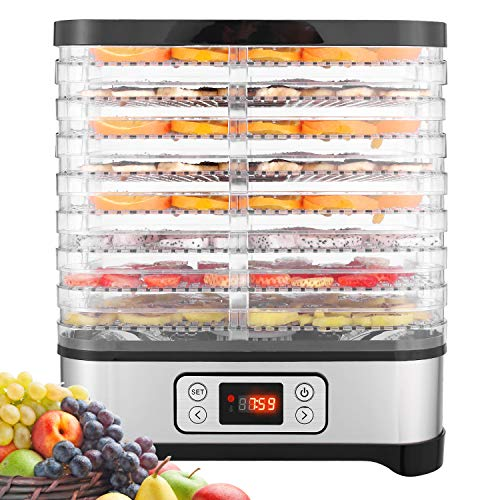 Secador de frutas y verduras Hopekings, pantalla LCD, temporizador de 72 horas, 8 palets, deshidratador de alimentos, secador de alimentos, temperatura ajustable (35 ° C-70 ° C), 400 W
