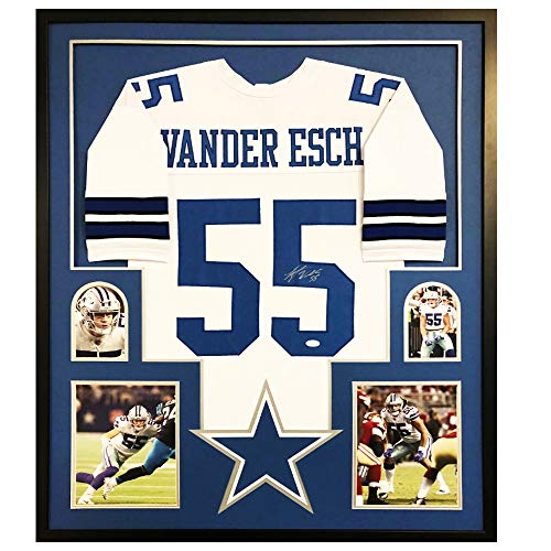 Authentic Leighton Vander Esch Autographed Signed Custom Jersey Framed Display Dallas Cowboys LB