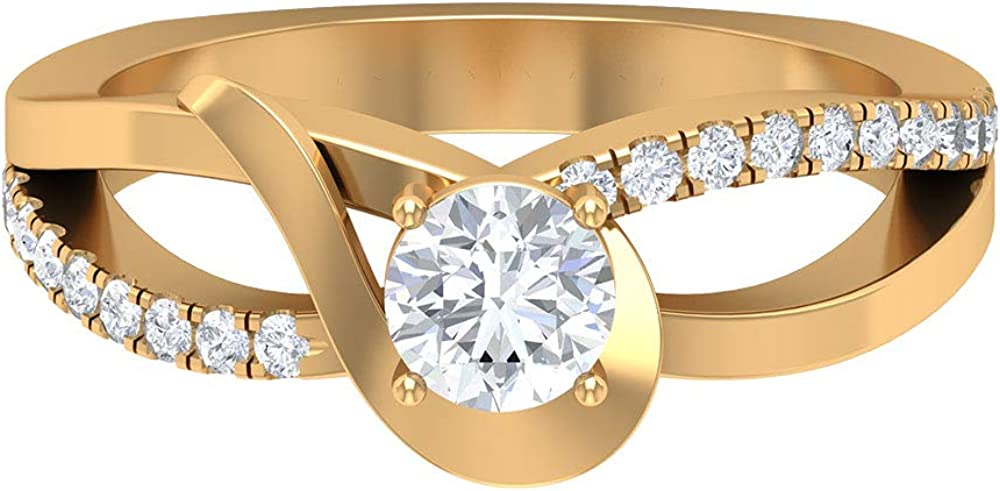 Long-awaited Solitaire 3 4 CT Diamond engagement Gold Twisted Side Ston Ring Today's only