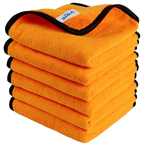 MR.SIGA Professional Premium Microfiber Towels for Household Cleaning and Car Washing, Dual-Sided Auto Detailing Towels, Gold, 15.7 x 23.6 inch, 6 Pack