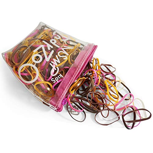 Kavya® 300 Stück Mehrfarbige Elastische Haargummis Bänder,Bunt Gummiband, Gummi Haargummibänder Mini Elastische Haar Gummibänder für Kinder Mädchen Damen(TascheFarbe: Braun)