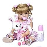 DERUKK-TY Muñeca Reborn de 55 cm, de silicona, cuerpo entero, para niñas, pelo rubio, princesa Reborn, muñeca de niña, muñeca de bebé real, regalo encantador