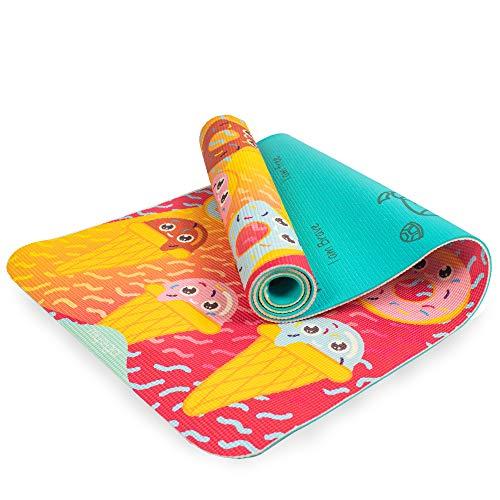 Myga - Esterilla de yoga para niños, diseño de dientes dulces, para niños, esterilla de ejercicios para pilates, antideslizante y multiusos para ejercicios de fitness, para el hogar, gimnasio, estudio