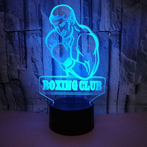 KangYD Modelo de hombre de boxeo de luz nocturna 3D, lámpara de ilusión óptica LED, D - Grieta remota Blanco(16 colores), Regalo para amigo, Decoración del hogar