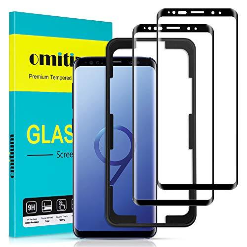 omitium Pellicola Vetro Temperato per Samsung Galaxy S9, 2 Pezzi Copertura Completa Pellicola Protettiva Samsung Galaxy S9 [Cornice di Allineamento] 9H Durezza Protezione Schermo Samsung Galaxy S9
